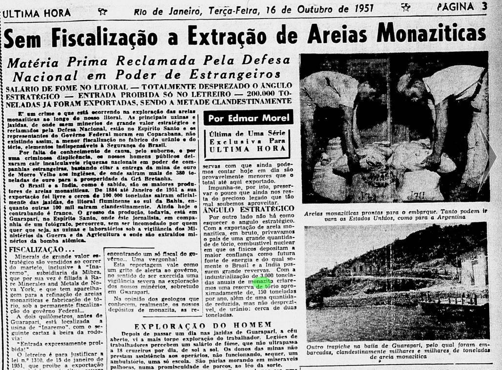 Reportagem de Edmar Morel para o Última Hora em 1957 retratava  a condição degradante dos trabalhadores de Guarapari