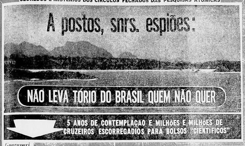 O repórter do Diário da Noite, Antenor Novais, viajou a Guarapari para constatar a total falta de controle na exploração do tório de Guarapari