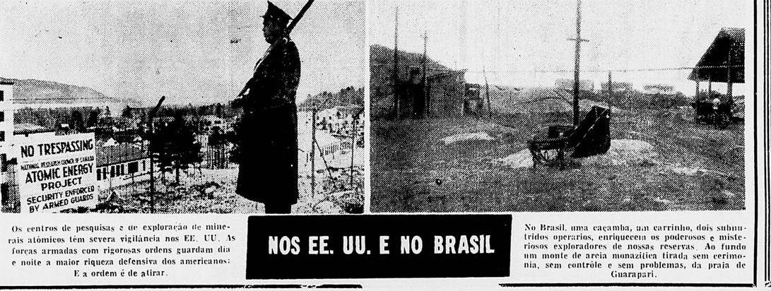 """eportagem do """"Diário da Noite"""" de 1956 comparava o esquema americano de proteção ao minério e o descaso em Guarapari"""