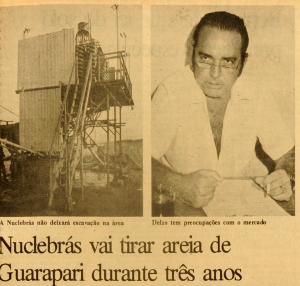 Diretor da Nuclemon, Delzo Marques,  se posiciona sobre a permanência da empresa em Guarapari por mais três anos. A Gazeta, 7 de maio de 1983
